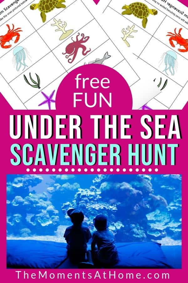 aquarium ocean scavenger hunt sheets and picture of kids at aquarium