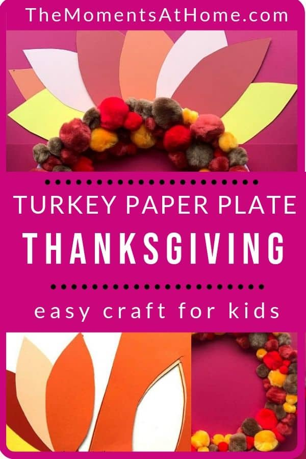 instructional photos for easy kids paper plate craft of turkey and pom pom wreath