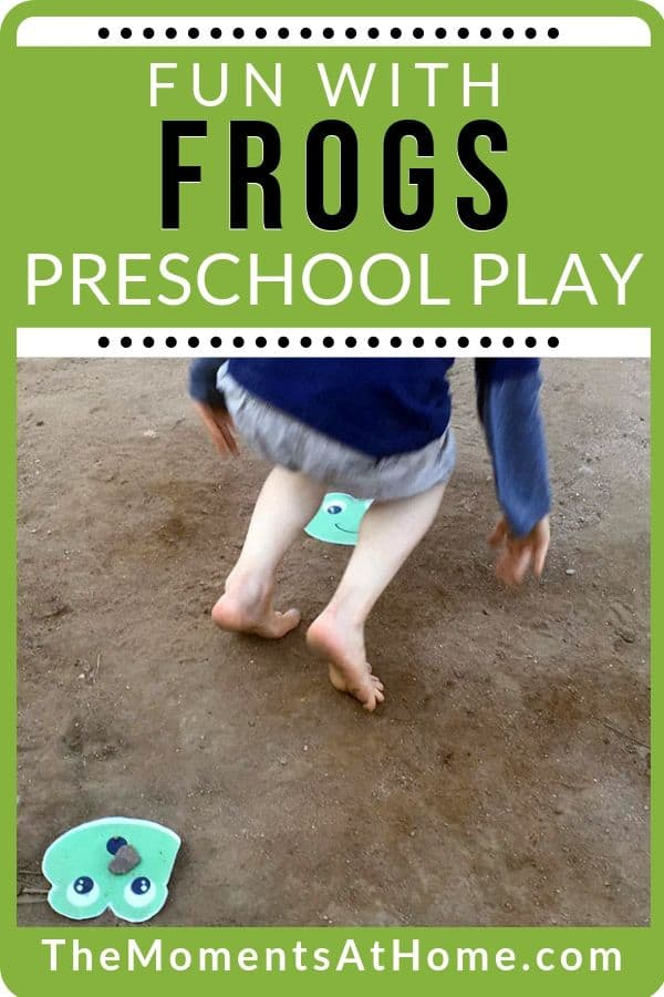 """photo of paper craft frog and child playing leap frog with text """"gross motor skills: frog fun activity"""" by The Moments At Home"""