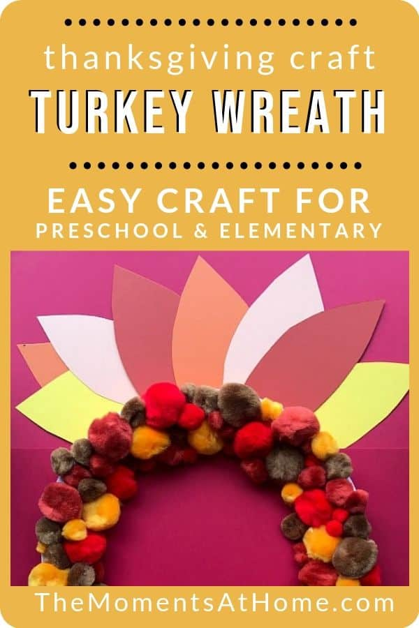 turkey pom pom wreath paper plate craft picture from The Moments At Home