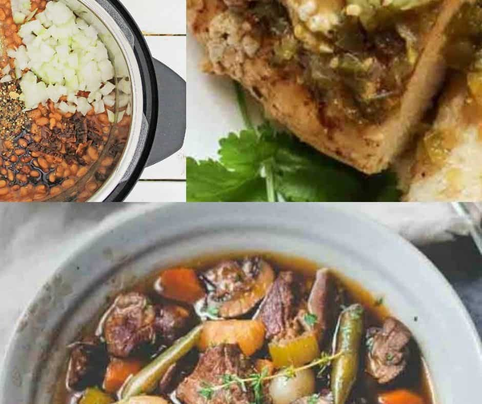 three low carb dinners made in the Instant Pot pressure cooker