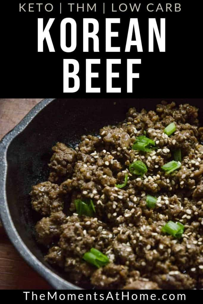 """cast iron skillet with beef and sesame seeds and text """"Korean beef bulgogi"""" by The Moments At Home"""