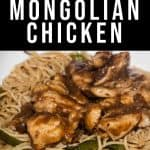 """a low carb Mongolian chicken meal with peppers and healthy lo main with text """"low carb THM takeout inspired Mongolian chicken"""" by The Moments At Home"""