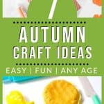 """pumpkin crafts for young children with text """"7 autumn craft ideas: easy, fun, any age"""" by The Moments At Home"""