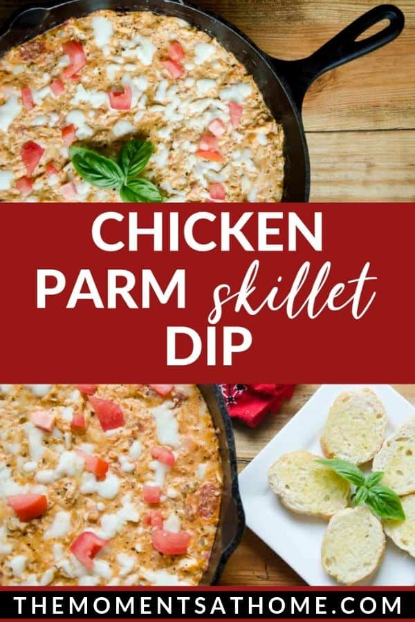 melted cheese and chicken dip in a skillet with text chicken parm skillet dip by The Moments At Home