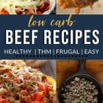 """beef stuffed squash, keto beef bulgogi, low carb lasagna, and diabetic friendly meatballs with text """"24 low carb beef recipes"""" from The Moments At Home"""