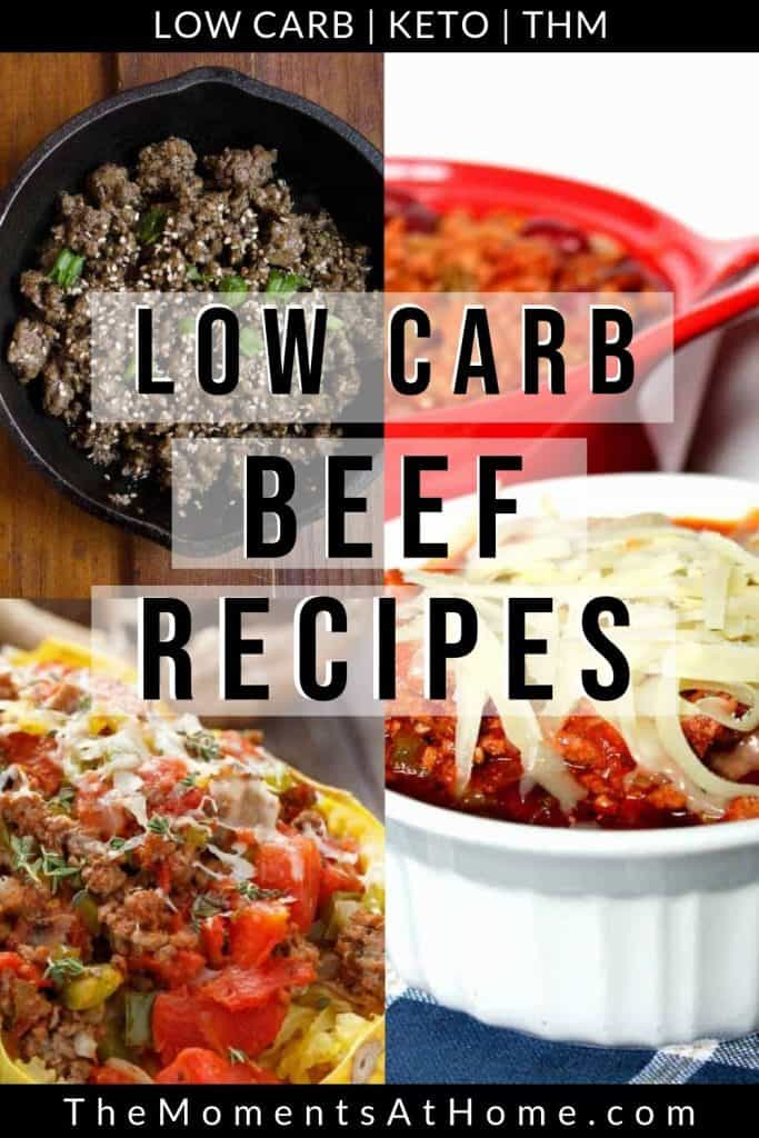 "sugar free Korean beef, stuffed beef spaghetti squash. and cheesy beef Italian casserole with text ""the best low carb ground beef recipe collection"" by The Moments At Home"