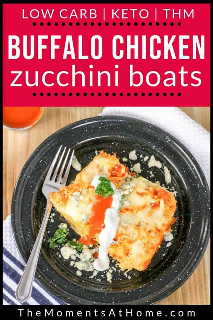 buffalo chicken stuffed zucchini boat recipe Pinterest image by The Moments At Home