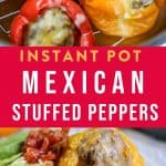 """mexican stuffed peppers in the Instant Pot with text """"low carb instant pot Mexican stuffed peppers"""" by The Moments At Home"""