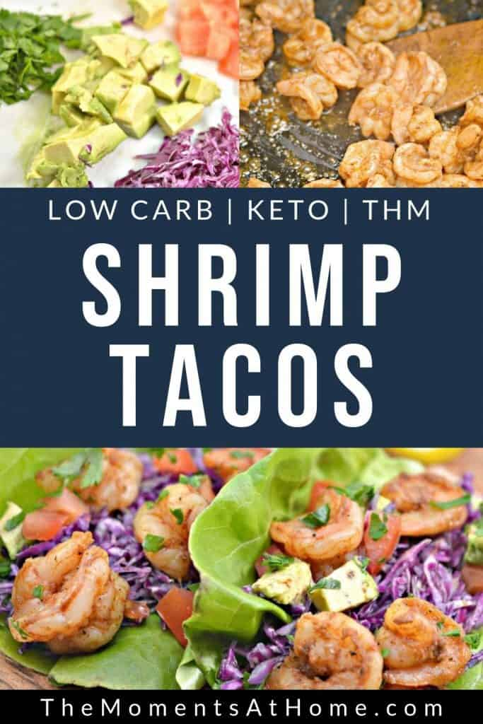 "picture of ingredients for Caribbean keto shrimp tacos with text ""Low carb, keto, THM Shrimp Tacos"" by The Moments At Home"