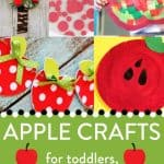 """Apple collage with text """"apple crafts for toddler, preschool, kindergarten"""" by The Moments At Home"""