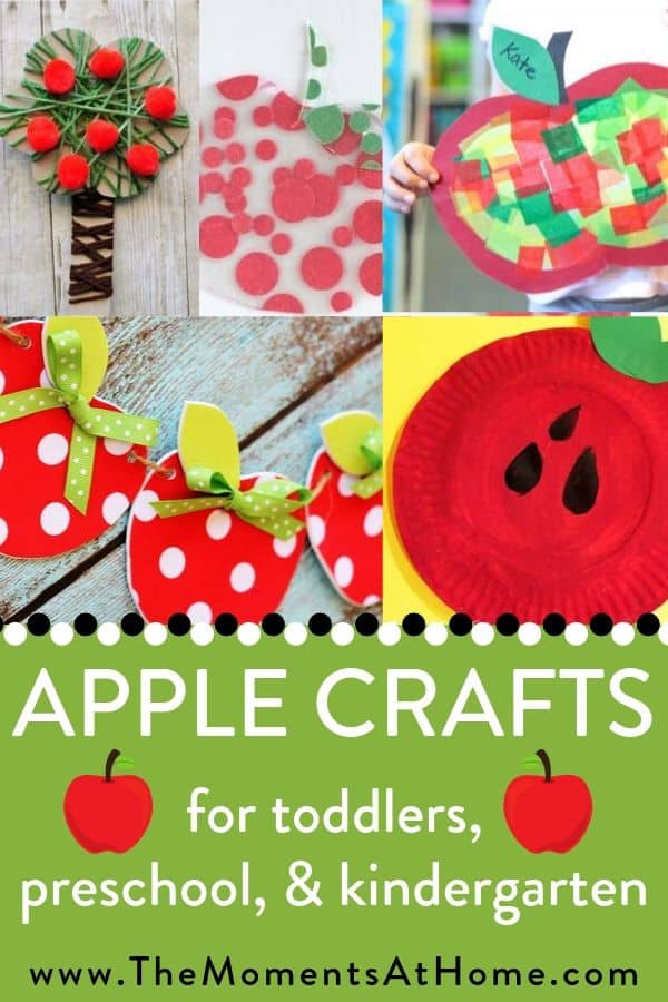 "Apple collage with text ""apple crafts for toddler, preschool, kindergarten"" by The Moments At Home"