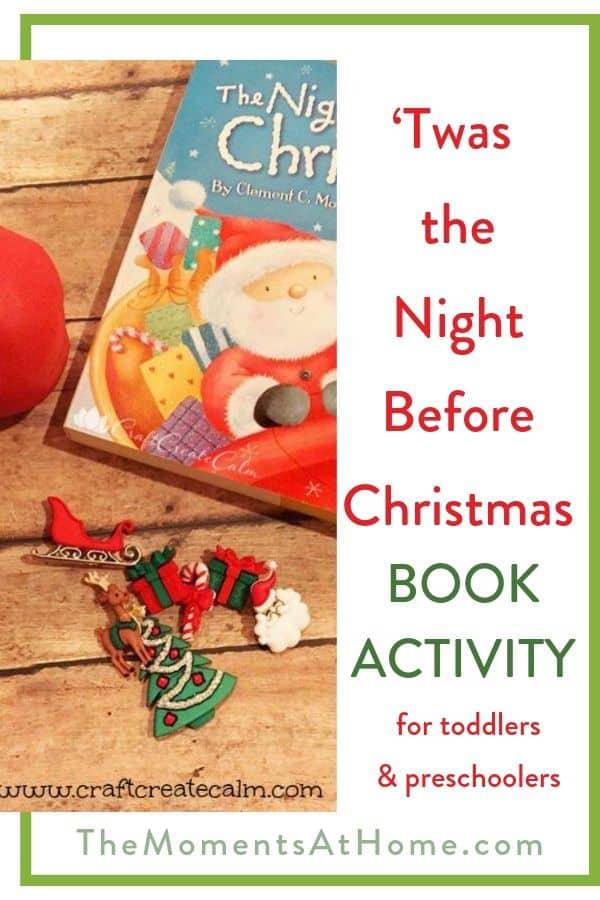 "kids Christmas craft using holiday buttons and play dough with text ""Twas the Night Before Christmas book activity"" by The Moments At Home"