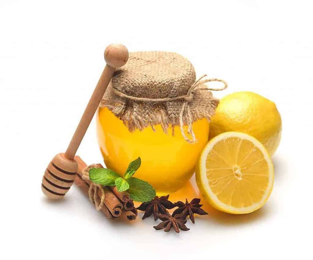honey pot with lemon, cinnamon, mint leave, and star anise around it