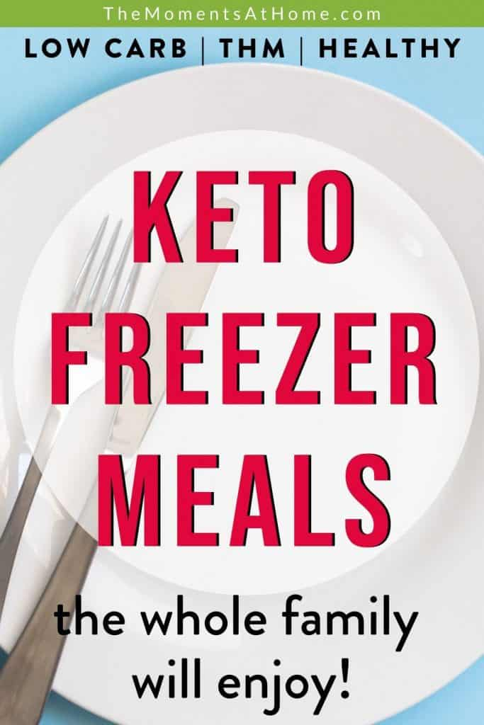 """empty plate with text """"keto freezer meals"""""""