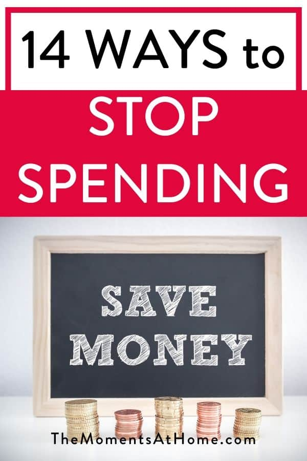 """text """"14 ways to stop spending and save money"""" with coins"""