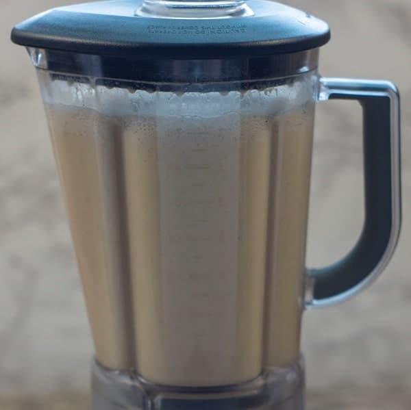 ingredients for dairy free eggnog in the blender