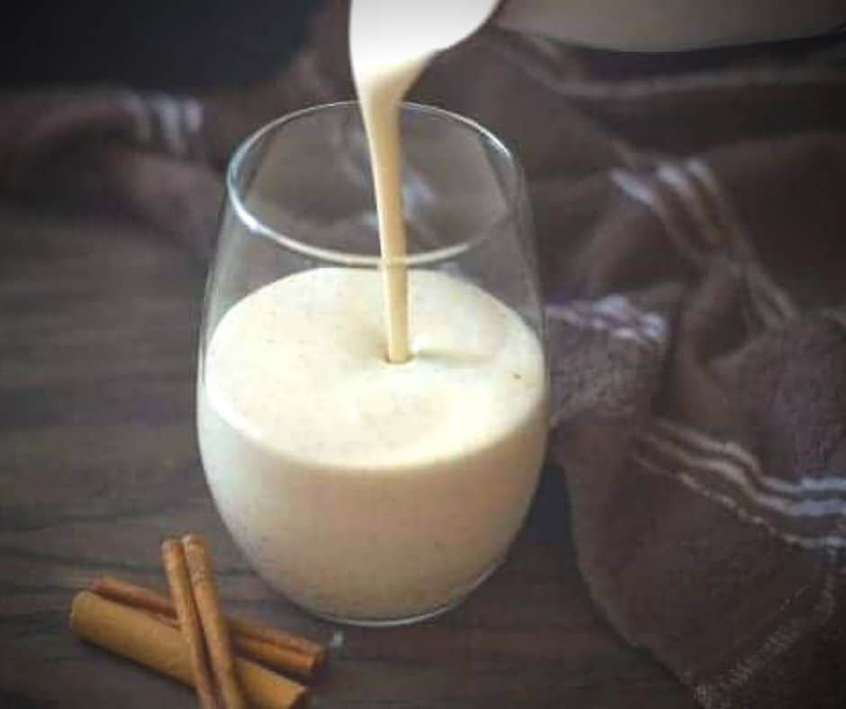 cup of dairy free eggnog with coconut milk