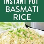 bowl of instant pot basmati rice with chives and parmesan