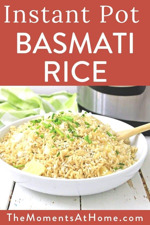 bowl of basmati rice with parmesan and herbs in front of Instant Pot