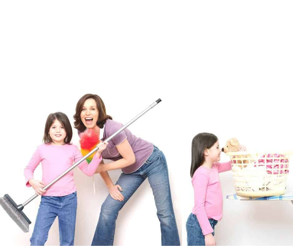 children and mom doing chores