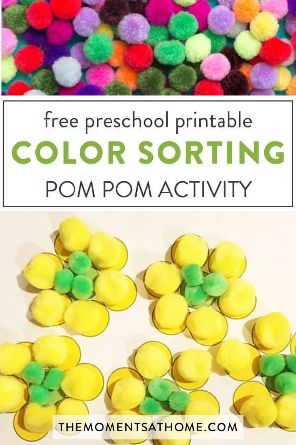 "pom poms on a worksheet printable for preschoolers "" free preschool printable color sorting Pom Pom activity"""