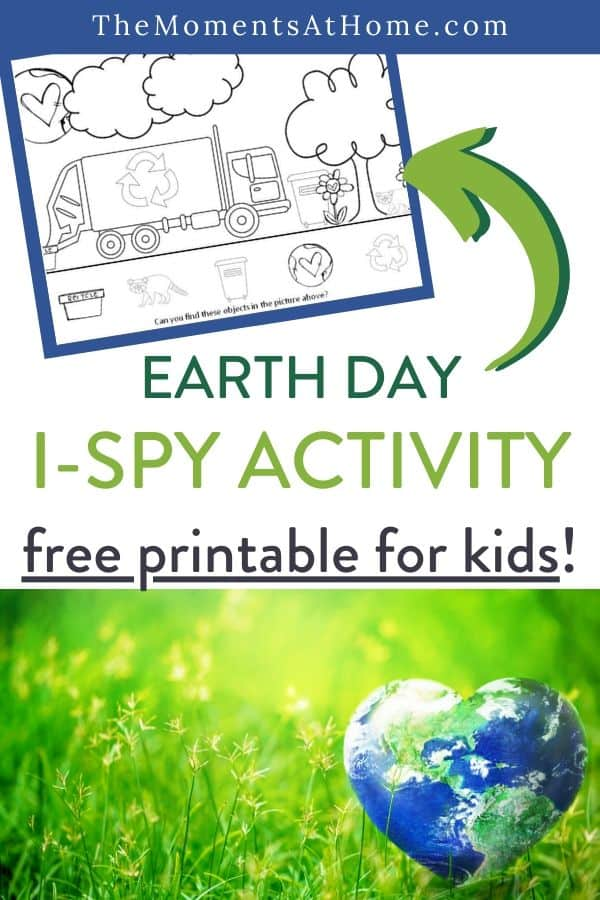 copy of free earth day I spy printable PDF worksheet for kids and title