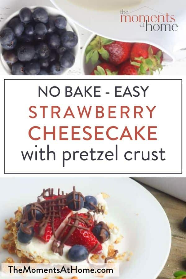 blueberries and strawberries drizzled with chocolate over no bake cheesecake with pretzel curst on white plate