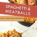 spaghetti and meatballs in a cast iron skillet