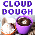 homemade DIY ice cream cloud dough for kids sensory play with an ice cream scoop and bowl