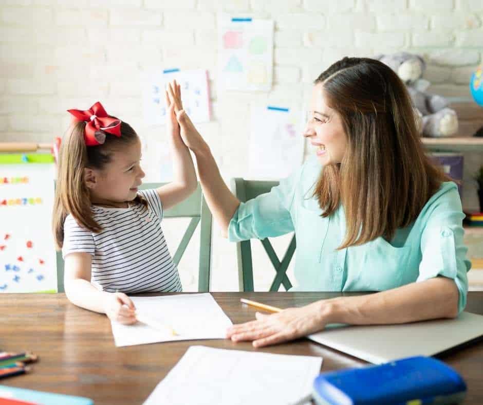 homeschooling mom and child