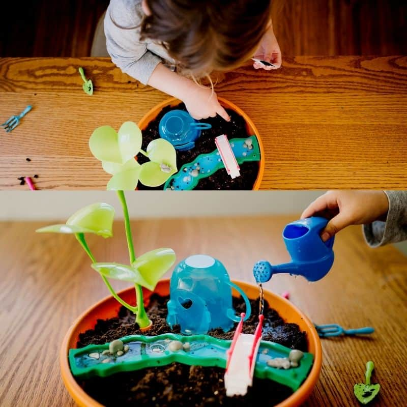 toddler making her own fairy garden