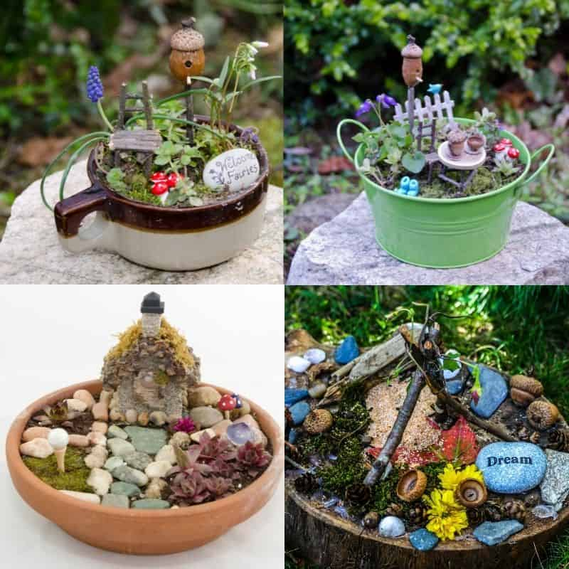 four simple fairy garden ideas in flower pots, perfect for the outside garden or a tabletop