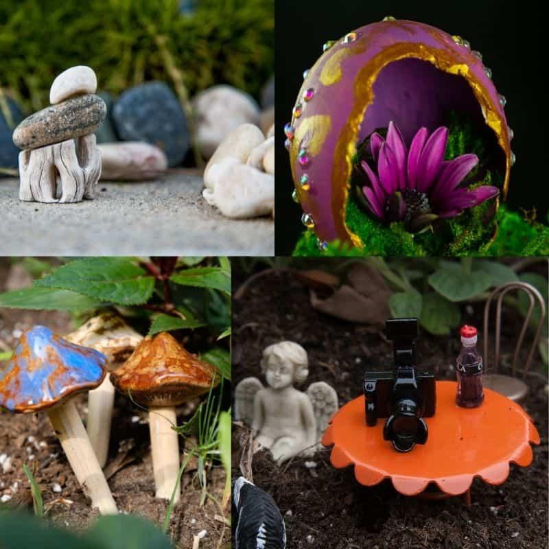 four fairy garden and fairy house examples