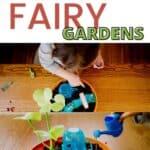 little girl making a miniature fairy garden